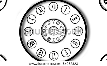 Clock inside clock. Digital generated - stock photo