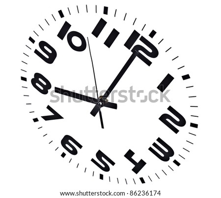 Clock isolated on white marking the eight o'clock hour. - stock photo