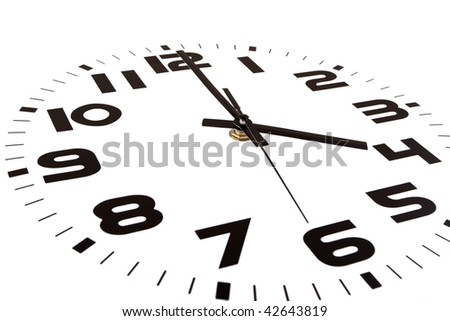 Clock isolated on white marking the four o'clock hour. The main focus is in the hour hand. - stock photo