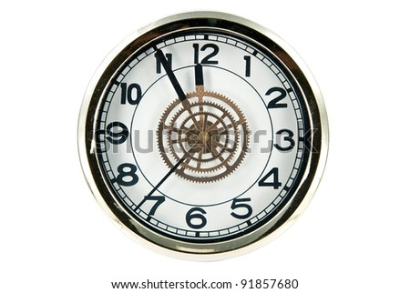 Clock isolated on white with clipping path