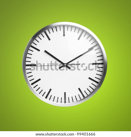 clock isolated over green background - stock photo
