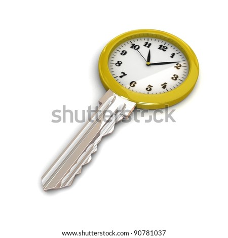 Clock-Key. Concept of Successful time management or other. 3d illustration. - stock photo