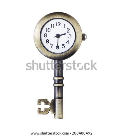 Clock&key match concept object - stock photo
