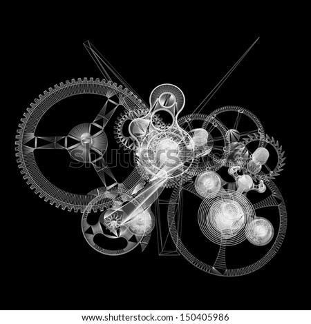 Clock mechanism. Isolated wire-frame render on a black background - stock photo