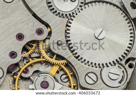 Clock mechanism macro for background - stock photo
