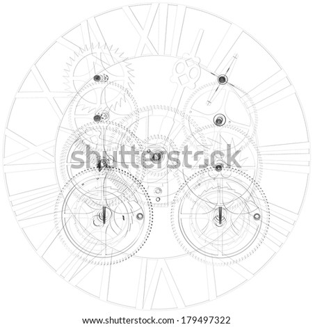 Clock mechanism. Wire-frame isolated render on a white background