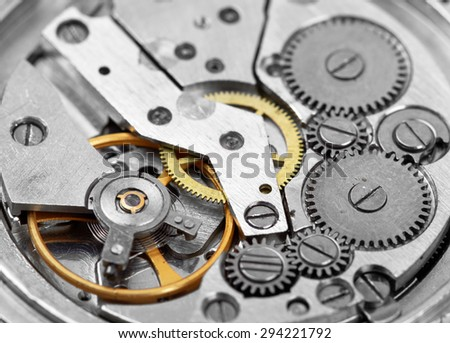 Clock mechanism with gears macro