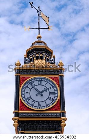 Clock next to Victoria Station, London - stock photo