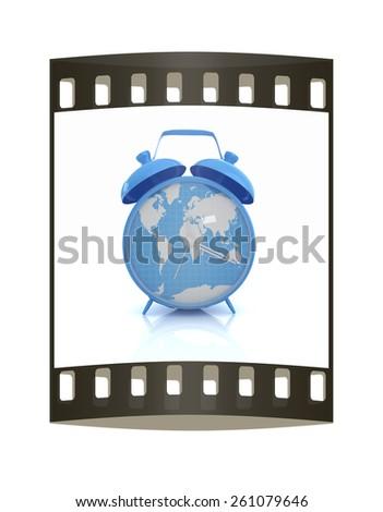 Clock of world map. The film strip - stock photo