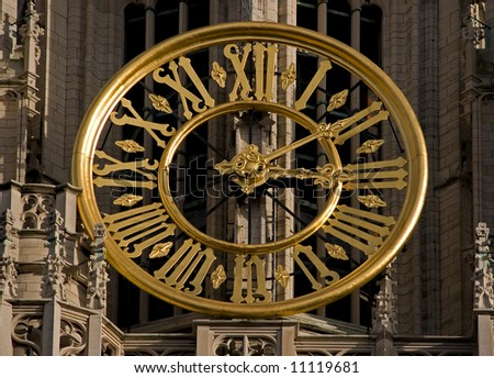 Clock on the cathedral, Antwerp - stock photo