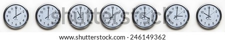 clock on the wall of time zones for trading around the world set at 3PM london GMT time - stock photo