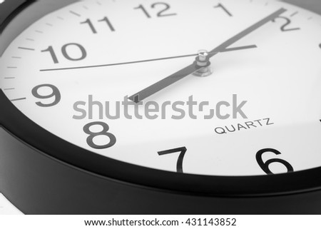 Clock or time abstract background.white clock  and black needles