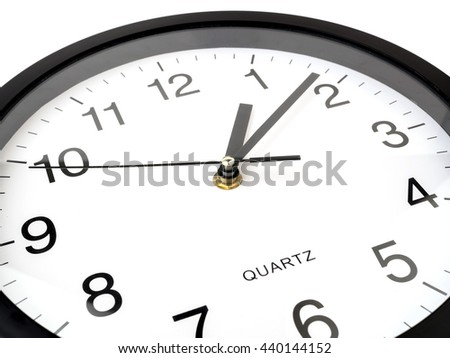 Clock or time abstract background, white clock and black needles - stock photo