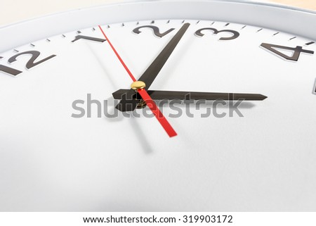 Clock or time abstract background. white clock with red and black needles - stock photo