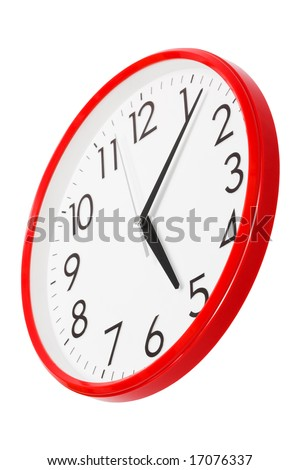 clock per the red case on a white background