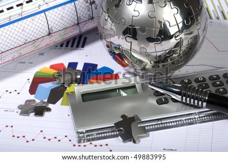Clock puzzle globe diagram finance economics stock photo royalty clock puzzle globe diagram finance economics business chart ccuart Image collections