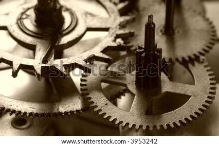 Clock's gears- conceptual of precision technology and teamwork - stock photo
