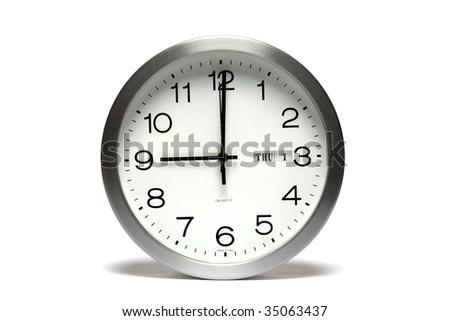Clock Face Showing 9 O'clock Clock Showing 9 O'clock