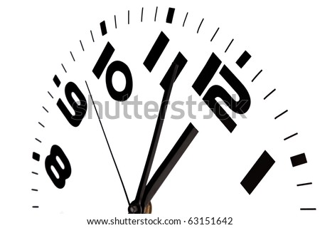 Clock showing three to twelve against a white background. - stock photo