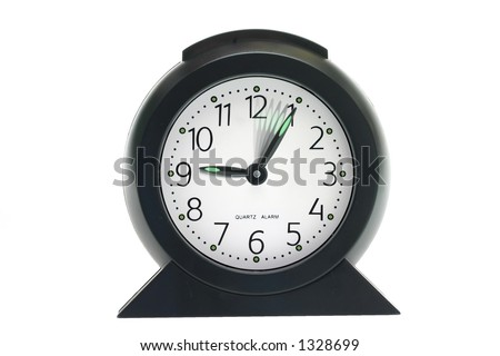 Clock showing time speeding up on white background, time flies, not having enough time - stock photo