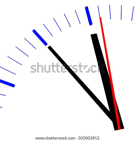 Clock shows eleven fifty-five - stock photo