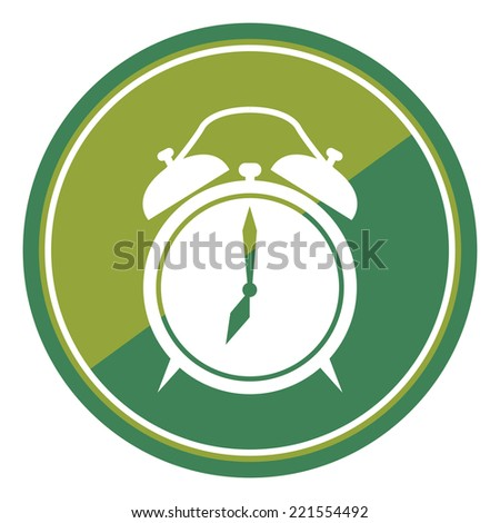 Clock Sign on Green Circle Icon, Button, Label Isolated on White  - stock photo