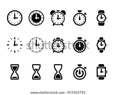 Clock signs, time icons - stock photo