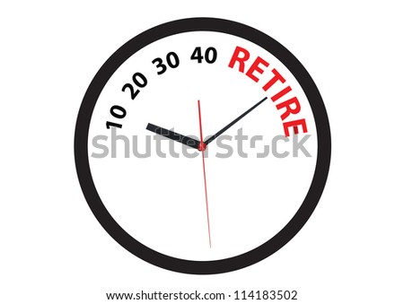 clock ticking to the time to early retire - stock photo