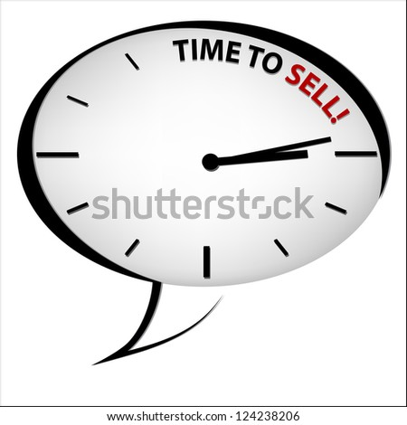 "Clock ""Time to sell"" - stock photo"
