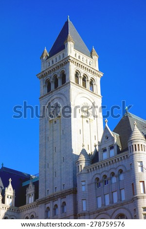 Clock Tower at the Old Post Office in Washington DC  - stock photo
