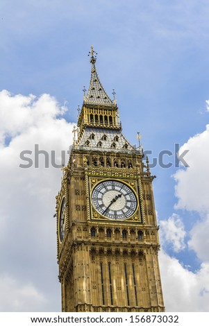 "Clock tower ""Big Ben"" near House of Parliament, London, UK. Tower is now officially called the Elizabeth Tower to celebrate the Diamond Jubilee of Queen Elizabeth II."