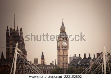 Clock tower Big Ben Palace of Westminster, London England UK. - stock photo