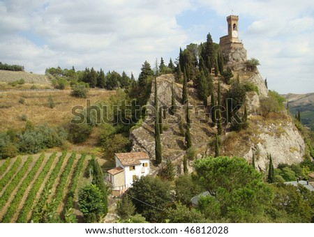 Clock tower in Brisighella, Emilia-Romagna, Italy - stock photo