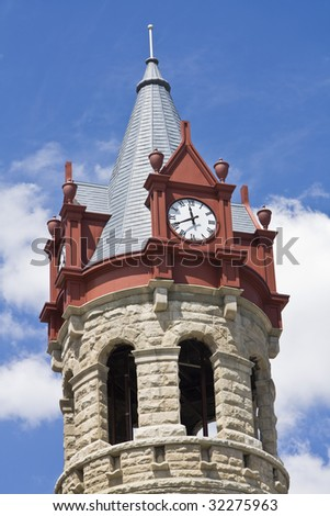 Clock Tower in Stoughton, Wisconsin - stock photo