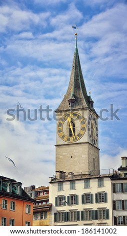 Clock tower in Zurich, Switzerland
