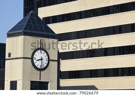 Clock Tower next to the hospital in Louisville, Kentucky - stock photo