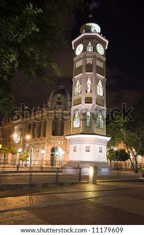 clock tower night scene on malecon 2000 guayaquil ecuador south america