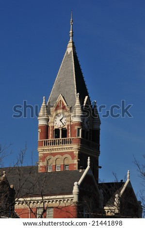 clock tower of a church or castle style building