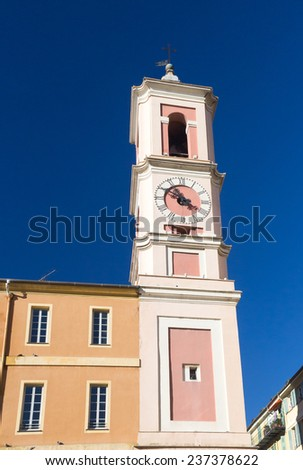 Clock Tower on Rusca Palace, Nice, South of France - stock photo