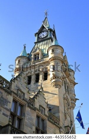 Clock tower on town hall in Dunfermline, Scotland, UK