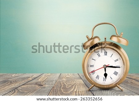 Clock. Vintage Alarm Clock isolated on white - stock photo