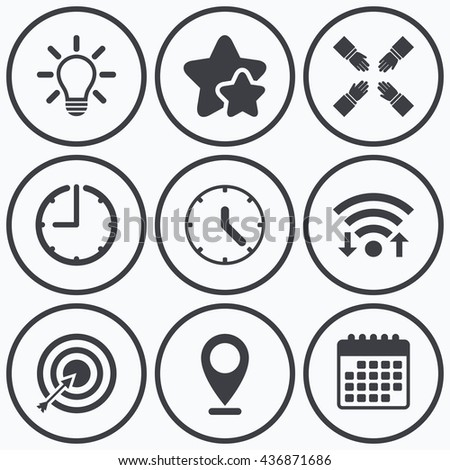 Clock, wifi and stars icons. Lamp idea and clock time icons. Target aim sign. Darts board with arrow. Teamwork symbol. Calendar symbol. - stock photo