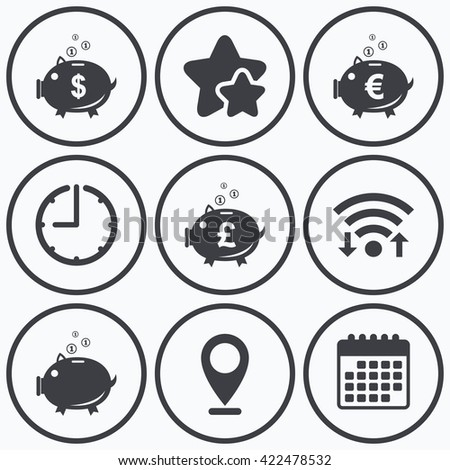 Clock, wifi and stars icons. Piggy bank icons. Dollar, Euro and Pound moneybox signs. Cash coin money symbols. Calendar symbol. - stock photo