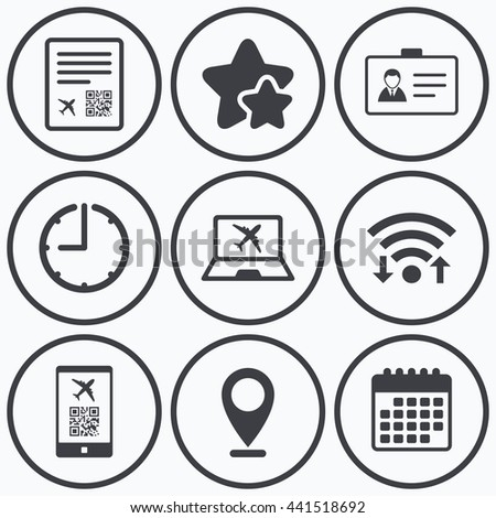 Clock, wifi and stars icons. QR scan code in smartphone icon. Boarding pass flight sign. Identity ID card badge symbol. Calendar symbol. - stock photo