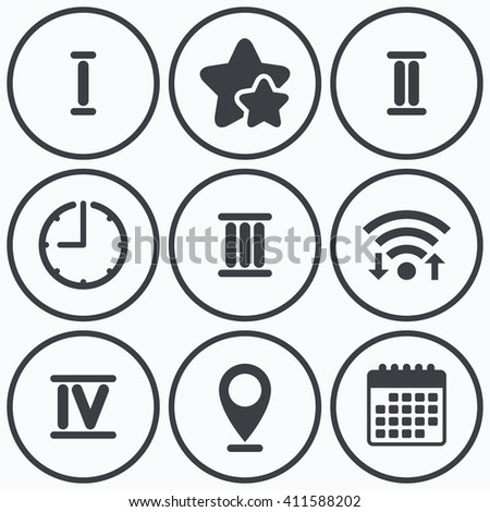 Clock, wifi and stars icons. Roman numeral icons. 1, 2, 3 and 4 digit characters. Ancient Rome numeric system. Calendar symbol. - stock photo