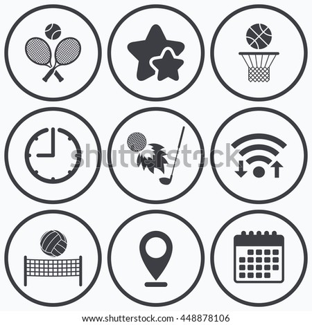 Clock, wifi and stars icons. Tennis rackets with ball. Basketball basket. Volleyball net with ball. Golf fireball sign. Sport icons. Calendar symbol. - stock photo