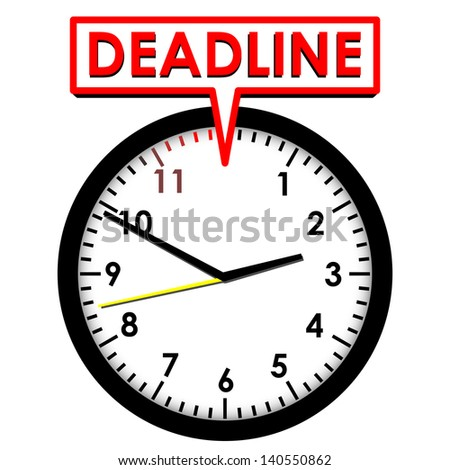 Clock with Deadline - stock photo