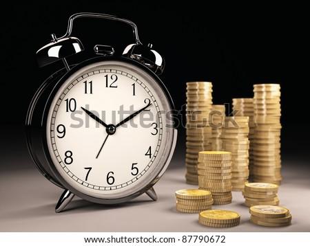 Clock with money on black - stock photo