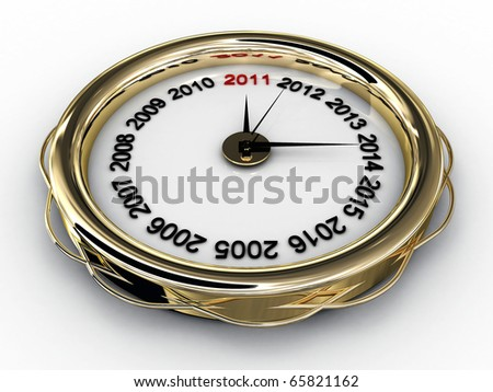 Clock with numbered years. 3D