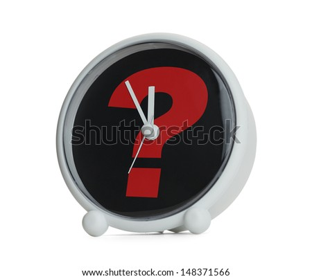 Clock with Question Mark in Red Isolated on White Background.
